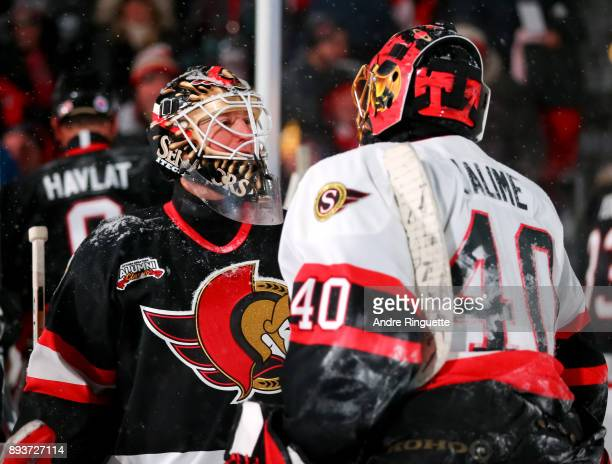 Ottawa Senators alumni Ron Tugnutt talks with Patrick Lalime during the 2017 Scotiabank NHL100 Classic Ottawa Senators Alumni Game on Parliament Hill...