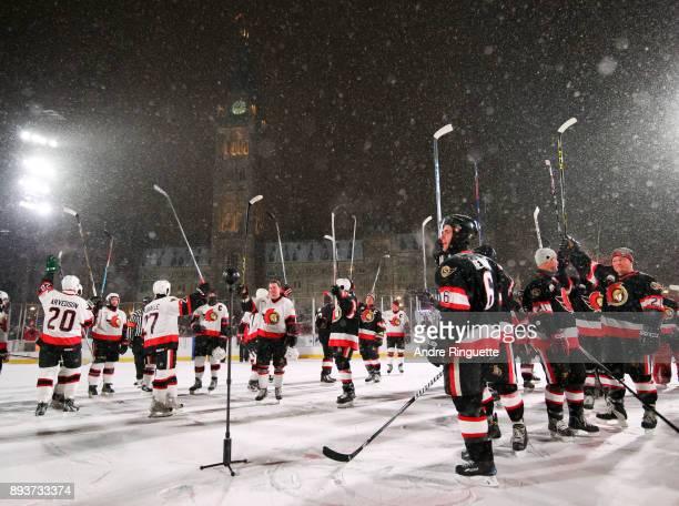 Ottawa Senators alumni salute the crowd during the 2017 Scotiabank NHL100 Classic Ottawa Senators Alumni Game on Parliament Hill on December 15 2017...
