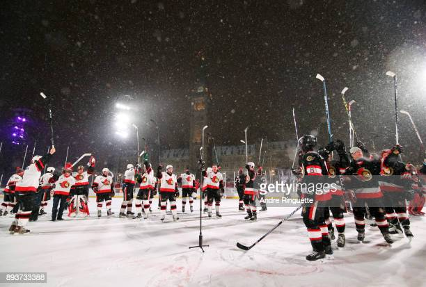 Ottawa Senators alumni salute the crowd during the 2017 Scotiabank NHL100 Classic Ottawa Senators Alumni Game on Parliament Hill on December 15 2017...