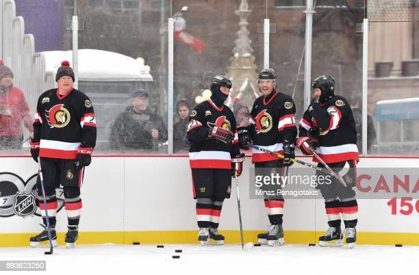 Ottawa Senators alumni warm up during the 2017 Scotiabank NHL100 Classic Ottawa Senators Alumni Skate on Parliament Hill on December 15 2017 in...