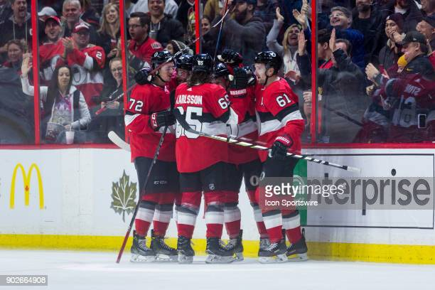 Ottawa Senators celebrate a goal during third period National Hockey League action between the Tampa Bay Lightning and Ottawa Senators on January 6...