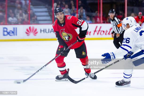 Ottawa Senators center Ben Sexton looks for options during second period National Hockey League preseason action between the Toronto Maple Leafs and...