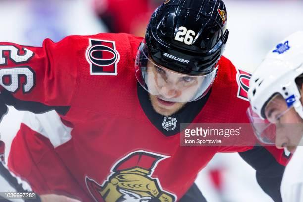 Ottawa Senators center Ben Sexton prepares for a faceoff during second period National Hockey League preseason action between the Toronto Maple Leafs...
