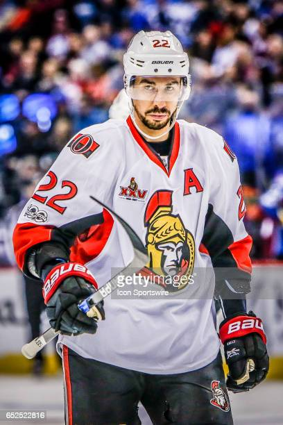 Ottawa Senators Center Chris Kelly looks on during the Ottawa Senators and Colorado Avalanche NHL game on March 11 at Pepsi Center in Denver CO