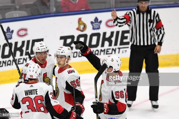 Ottawa Senators center Colin White Ottawa Senators defenceman Jordan Murray Ottawa Senators right wing Gabriel Gagne and Ottawa Senators left wing...