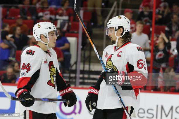 Ottawa Senators Center JeanGabriel Pageau and Ottawa Senators Defenceman Erik Karlsson in action during the 2nd period of the Carolina Hurricanes...