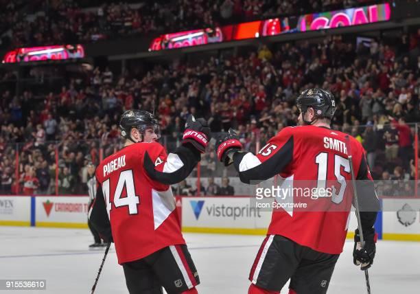 Ottawa Senators Center JeanGabriel Pageau and Ottawa Senators Left Wing Zack Smith celebrate a second period goal against the New Jersey Devils in...
