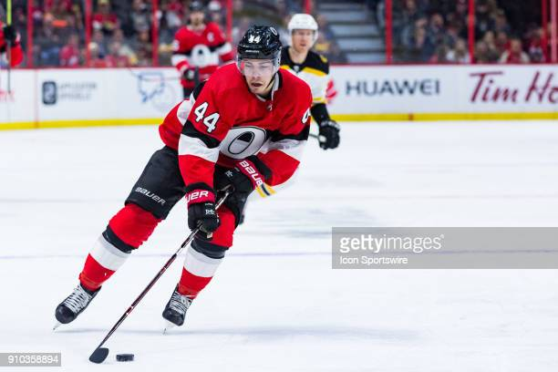 Ottawa Senators Center JeanGabriel Pageau carries the puck into the zone during second period National Hockey League action between the Boston Bruins...