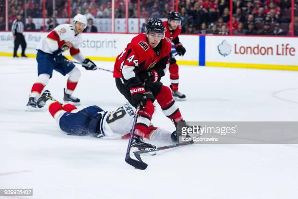 Ottawa Senators Center Jean-Gabriel Pageau is tripped on a breakaway by Florida Panthers Defenceman Mike Matheson during overtime National Hockey...