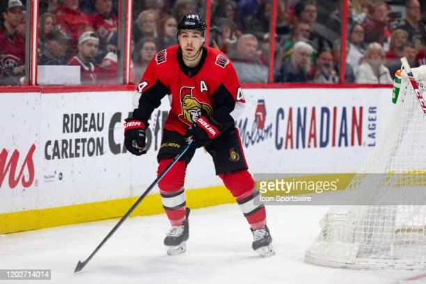 Ottawa Senators Center JeanGabriel Pageau skates around the net during third period National Hockey League action between the Montreal Canadiens and...