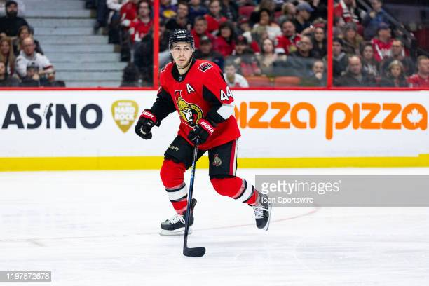 Ottawa Senators Center JeanGabriel Pageau skates with eyes on the play during third period National Hockey League action between the Washington...