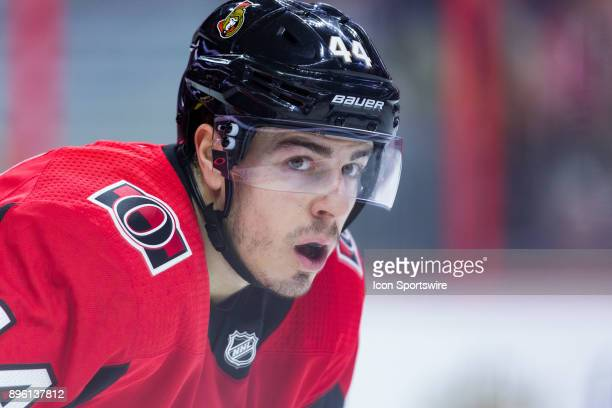Ottawa Senators Center JeanGabriel Pageau waits for play to resume during second period National Hockey League action between the Minnesota Wild and...