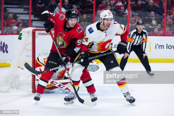 Ottawa Senators Center Matt Duchene battles Calgary Flames Defenceman Travis Hamonic during third period National Hockey League action between the...
