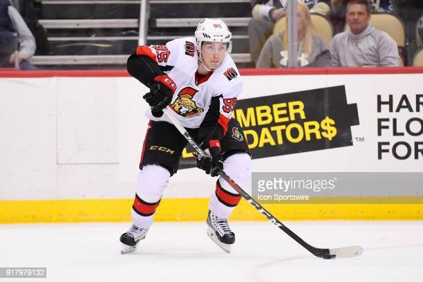 Ottawa Senators Center Matt Duchene passes the puck during the third period in the NHL game between the Pittsburgh Penguins and the Ottawa Senators...