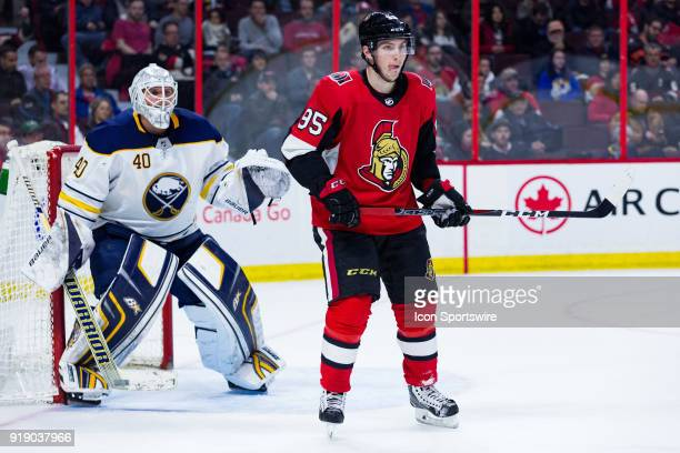 Ottawa Senators Center Matt Duchene sets up in front of Buffalo Sabres Goalie Robin Lehner during second period National Hockey League action between...