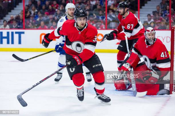 Ottawa Senators Colin White goes after a loose puck during first period National Hockey League action between the Tampa Bay Lightning and Ottawa...