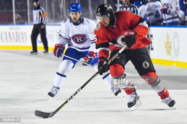 Ottawa Senators Defenceman Cody Ceci gains control of the puck during the Montreal Canadiens versus the Ottawa Senators NHL100 Classic game on...