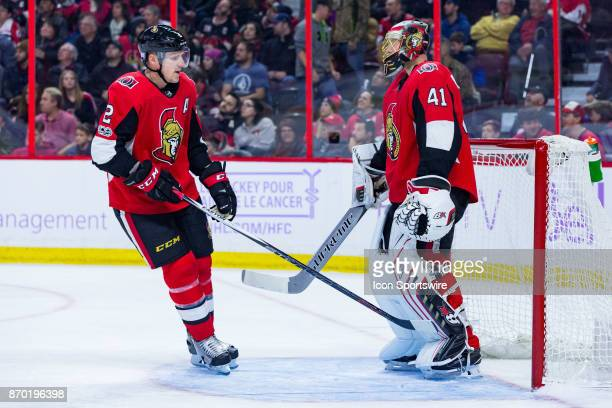 Ottawa Senators Defenceman Dion Phaneuf taps Goalie Craig Anderson on the pads after a Senators goal during second period National Hockey League...