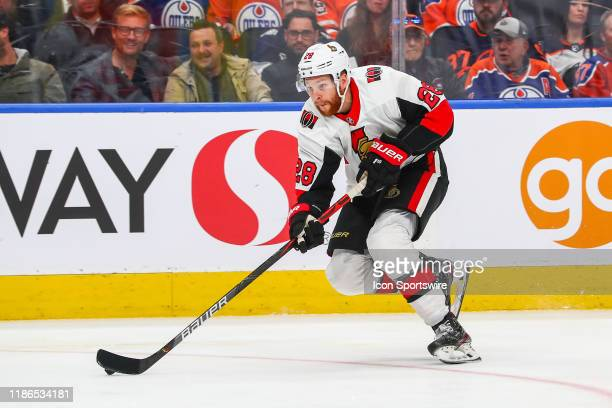 Ottawa Senators Defenceman Erik Brannstrom skates the puck down the wing moments before he scores the second goal of the game in the second period...