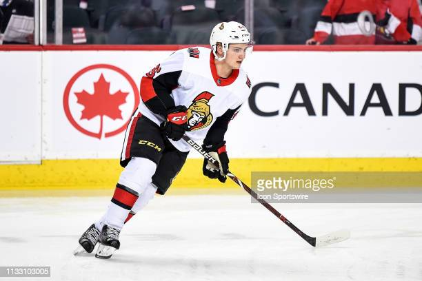 Ottawa Senators Defenceman Erik Brannstrom warms up before an NHL game where the Calgary Flames hosted the Ottawa Senators on March 21 at the...