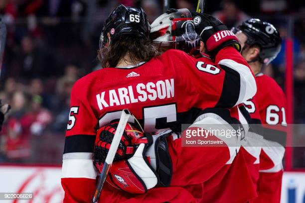 Ottawa Senators Defenceman Erik Karlsson congratulates Ottawa Senators Goalie Craig Anderson on his victory after third period National Hockey League...