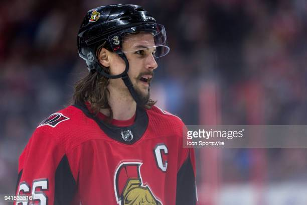 Ottawa Senators Defenceman Erik Karlsson prior to a faceoff during third period National Hockey League action between the Winnipeg Jets and Ottawa...