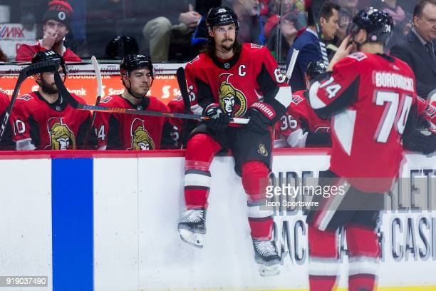 Ottawa Senators Defenceman Erik Karlsson takes a moment on the boards as there is a TV timeout during third period National Hockey League action...