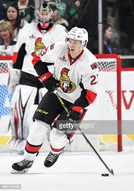 Ottawa Senators Defenceman Jyrki Jokipakka skates the puck up ice during an NHL game between the Minnesota Wild and Ottawa Senators on March 30 at...