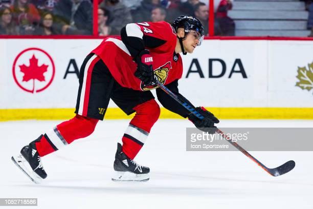Ottawa Senators Defenceman Mark Borowiecki follows through on a pass during third period National Hockey League action between the Montreal Canadiens...