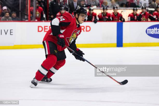 Ottawa Senators Defenceman Mark Borowiecki keeps eyes on the play during third period National Hockey League action between the Colorado Avalanche...