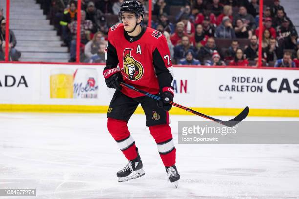 Ottawa Senators Defenceman Mark Borowiecki keeps eyes on the play during first period National Hockey League action between the Colorado Avalanche...