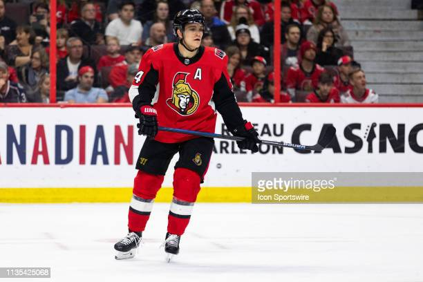Ottawa Senators Defenceman Mark Borowiecki keeps eyes on the play during first period National Hockey League action between the Columbus Blue Jackets...