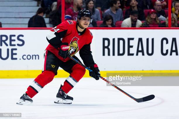 Ottawa Senators Defenceman Mark Borowiecki looks to receive a pass during third period National Hockey League action between the Montreal Canadiens...