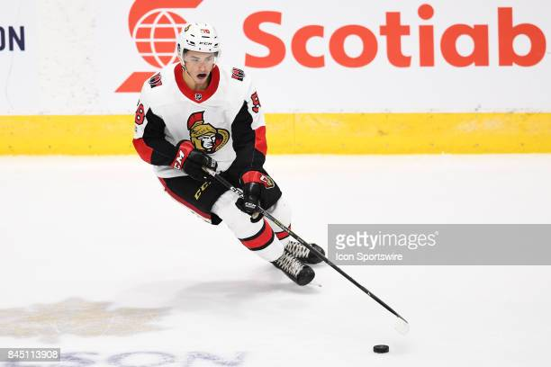 Ottawa Senators defenceman Maxime Lajoie skates with the puck during the third period of the NHL rookie tournament game between the Montreal...