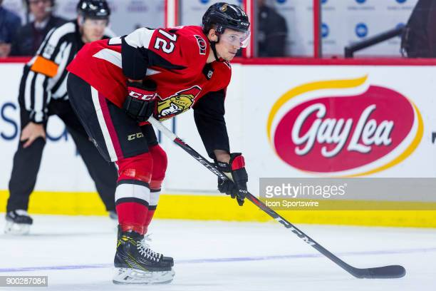 Ottawa Senators Defenceman Thomas Chabot prepares for the faceoff during second period National Hockey League action between the Boston Bruins and...