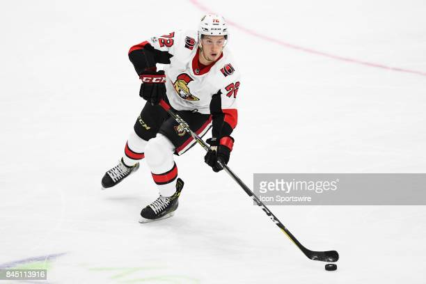 Ottawa Senators defenceman Thomas Chabot skates with the puck during the third period of the NHL rookie tournament game between the Montreal...