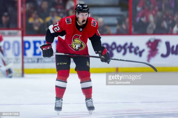 Ottawa Senators Defenceman Thomas Chabot waits for the faceoff during second period National Hockey League action between the Boston Bruins and...
