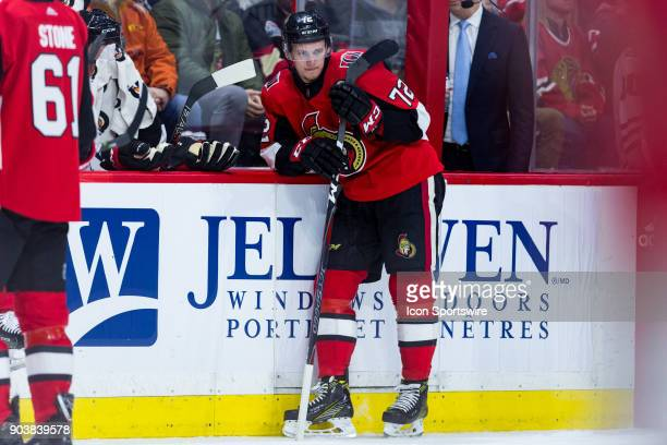 Ottawa Senators Defenceman Thomas Chabot waits on the boards as there is a stoppage in play during second period National Hockey League action...