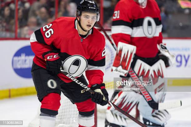 Ottawa Senators Defenceman Erik Brannstrom  keeps eyes on the play during third period National Hockey League action between the St Louis Blues and...