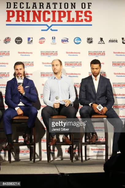 Ottawa Senators Defenseman Erik Karlsson New York Rangers Defensemen Kevin Shattenkirk and Columbus Blue Jackets Defensemen Seth Jones speak during...