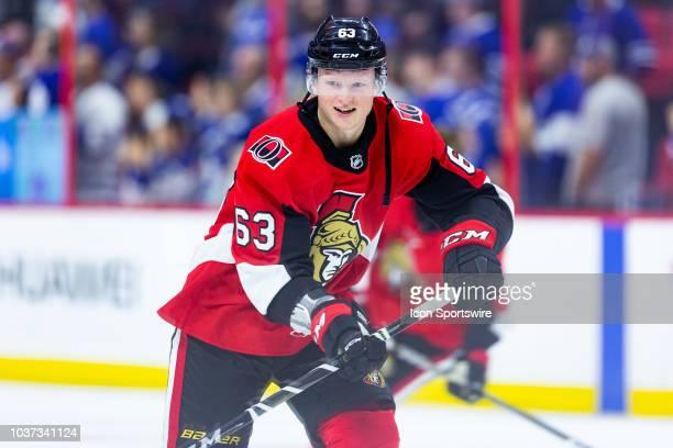 Ottawa Senators defenseman Julius Bergman participates in drills during warmup before National Hockey League preseason action between the Toronto...