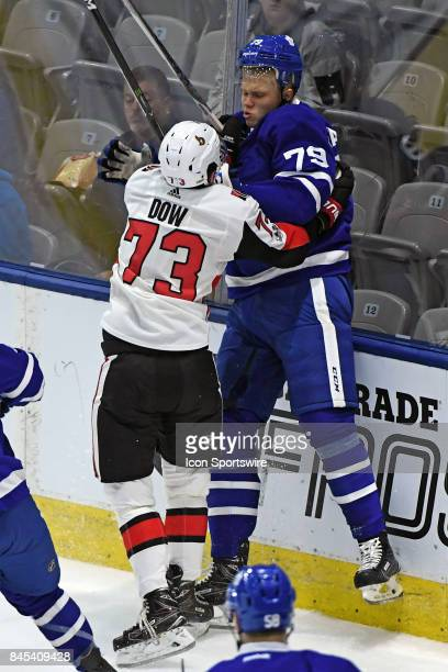 Ottawa Senators Forward Bobby Dow hits Toronto Maple Leafs Defenceman Eemeli Rasanen during the NHL preseason Rookie Tournament game between the...