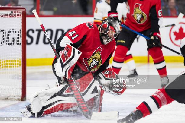 Ottawa Senators Goalie Craig Anderson looks for a rebound during third period National Hockey League action between the Calgary Flames and Ottawa...