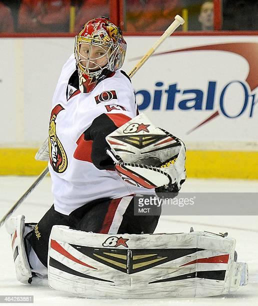 Ottawa Senators goalie Craig Anderson makes a glove save against the Washington Capitals in the second period at the Verizon Center in Washington...
