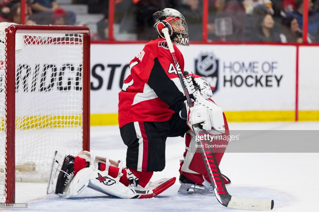 Ottawa Senators Goalie Craig Anderson Waits For Play To Resume