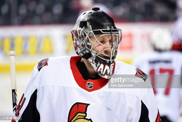 Ottawa Senators Goalie Craig Anderson warms up before an NHL game where the Calgary Flames hosted the Ottawa Senators on March 21 at the Scotiabank...
