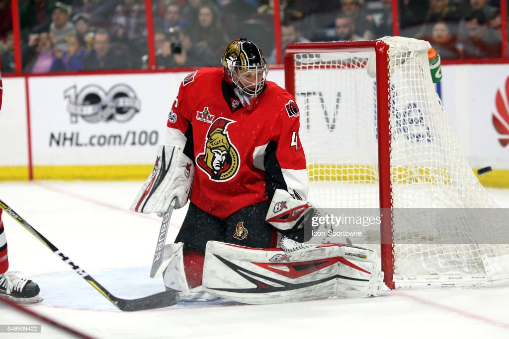 Ottawa Senators Goalie Craig Anderson (41) with a save as the rebound goes just wide of the goal during the second period in a game between the Boston Bruins and Ottawa Senators on March 06, 2017, at Canadian Tire Centre in Ottawa, On.