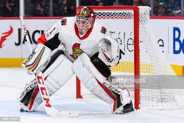 Ottawa Senators goalie Mike Condon focused on the action during the Ottawa Senators versus the Montreal Canadiens preseason game on September 30 at...