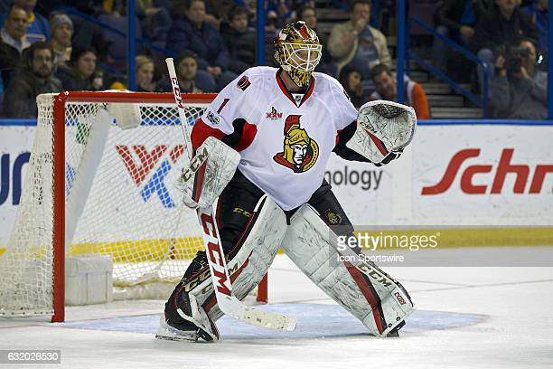 Ottawa Senators goalie Mike Condon working the pipes during a NHL hockey game between the St Louis Blues and the Ottawa Senators on January 17 2017...