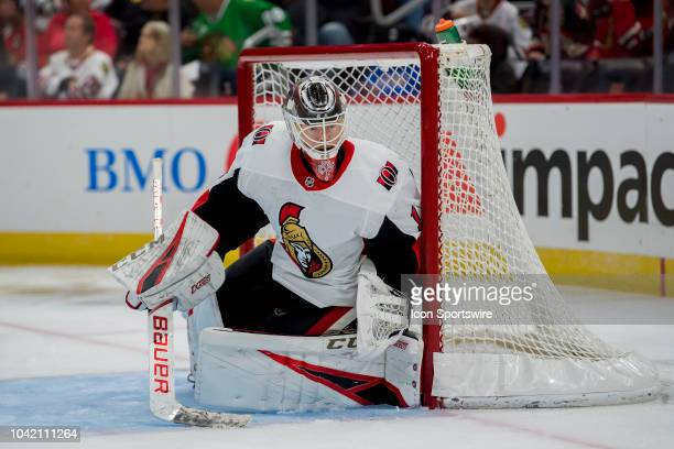 Ottawa Senators goaltender Mike Condon defends the goal in the second period during a game between the Ottawa Senators and the Chicago Blackhawks on...